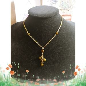Green & Gold Stone Necklace
